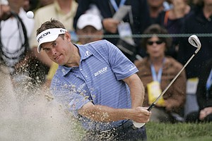 Lee Westwood of England hits out of a bunker on the 11th hole during the second round of the US Open championship at Torrey Pines Golf Course on Friday, June 13, 2008 in San Diego.