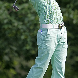 Rickie Fowler tees off on the par-4 14th hole during the second round of The Memorial golf tournament at Muirfield Village Golf Club Friday, June 4, 2010, in Dublin, Ohio
