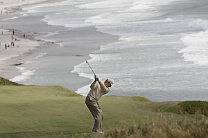Ernie Els of South Africa hits a shot on the ninth hole during the fourth round of the U.S. Open golf tournament Sunday, June 20, 2010, at the Pebble Beach Golf Links in Pebble Beach, Calif.