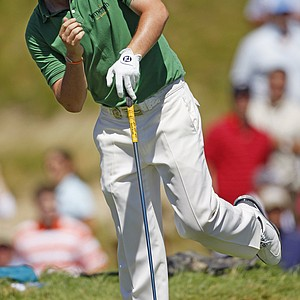 Rory McIlroy of Northern Ireland watches his drive on the second hole during the final round of the PGA Championship golf tournament Sunday, Aug. 15, 2010, at Whistling Straits in Haven, Wis.