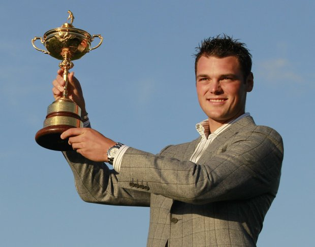 Europe's Martin Kaymer lifts the trophy after winning the 2010 Ryder Cup golf tournament at the Celtic Manor Resort in Newport, Wales, Monday, Oct. 4, 2010.