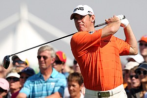 England's Lee Westwood tees off at the first hole during the second round of the Dubai World Championship golf tournament in Dubai, United Arab Emirates, Friday Nov. 26, 2010.