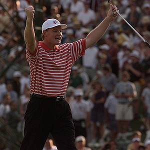 Ernie Els, of South Africa, celebrates after finishing the 18th hole of the final round of the U.S. Open Sunday, June 15, 1997, at Congressional Country Club in Bethesda, Md. Els won the 1997 U.S. Open championship.
