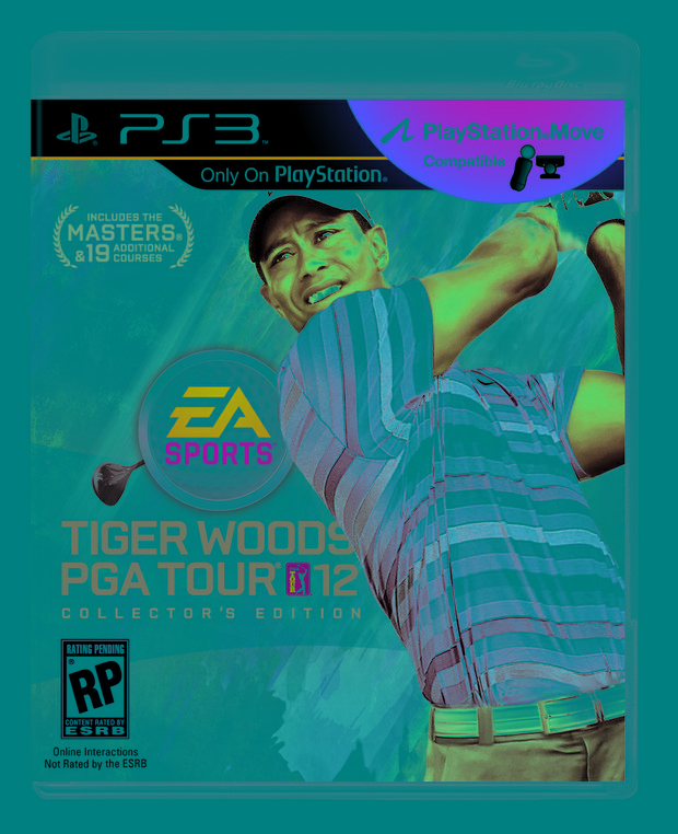 "View of the cover of the PS3 version of ""Tiger Woods 12: The Masters."""