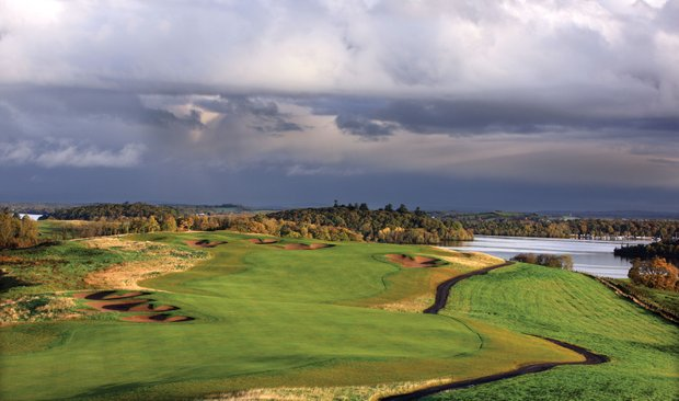 The par-5 sixth hole on the Faldo Championship Course at Lough Erne Resort in Enniskillen, Northern Ireland.