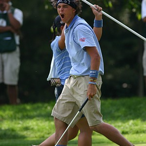 A decorated Rickie Fowler celebrates a made putt at the AJGA's 2006 Canon Cup, a Ryder Cup-style match between the top junior golfers in the nation.