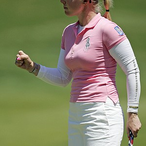 Morgan Pressel celebrates after shooting a birdie putt, 1-up, over South Korea's Kang Jimin on the second playoff hole during their first round match at the Sybase Match Play Championship at Hamilton Farms Golf Club in Gladstone, N.J., May 20, 2010.