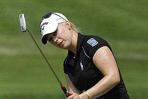 Morgan Pressel watches her put on the 9th green at the LPGA State Farm Classic in Springfield, Ill., June 11, 2010.
