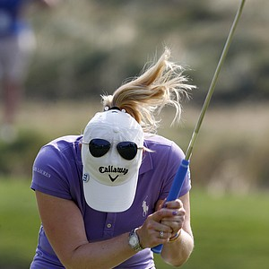 Morgan Pressel reacts to a putt during the U.S. Women's Open at Oakmont Country Club in Oakmont, Pa. July 8, 2010.