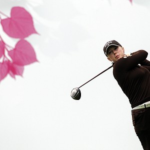 Morgan Pressel during the second round of the Evian Masters women's golf tournament in Evain, France July 23, 2010.