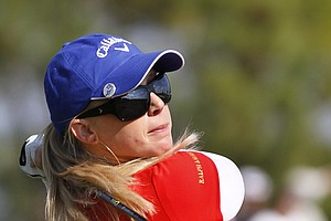 Morgan Pressel drives on the sixth tee during the LPGA Championship in Orlando, Fla. Dec. 5, 2010.