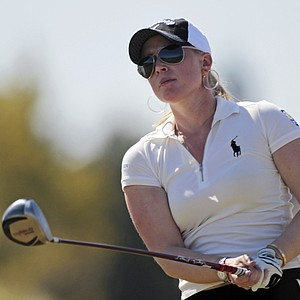 Morgan Pressel, watches her tee shot during the Navistar LPGA Classic at Robert Trent Jones Golf Trail Senator course in Prattville, Ala., Oct. 7, 2010.