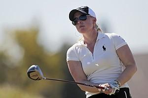 Morgan Pressel, watches her tee shot during the Navistar LPGA Classic at Robert Trent Jones Golf Trail Senator course in Prattville, Ala., Oct. 7, 2010.