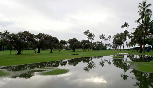 A general view of the 18th hole after heavy rains forced the cancellation of the first round of the Sony Open at Waialae Country Club.