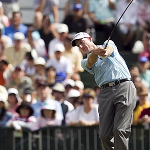 Jim Furyk tees off the first hole during the second round of the Sony Open golf tournament, Saturday, Jan. 15, 2011, in Honolulu.