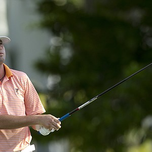 Nate Smith tees off on the first hole during the second round of the Sony Open golf tournament, Saturday, Jan. 15, 2011, in Honolulu.