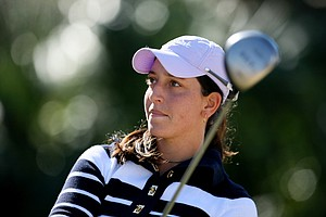 Kyle Roig watches her tee shot during the final round of The Sally at Oceanside Country Club in Ormond Beach, Fla.
