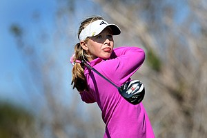 Nelly Korda, younger sister of Jessica Korda, who recently turned pro, hits a tee shot during the final round of The Sally at Oceanside Country Club in Ormond Beach, Fla.