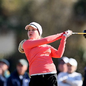 Charley Hull hits her tee shot at No. 7 during the final round of The Sally at Oceanside Country Club in Ormond Beach, Fla.