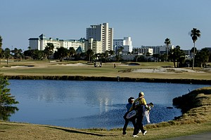 Katahira Mitsuki walks down No. 18 during the final round of The Sally at Oceanside Country Club in Ormond Beach, Fla.