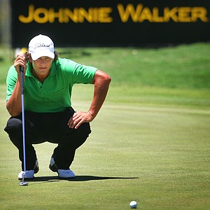 Australian golfer Adam Scott on the 9th green during the second round of the Johnnie Walker golf classic at The Vines golf course in Perth, Australia, Friday Feb. 10, 2006.