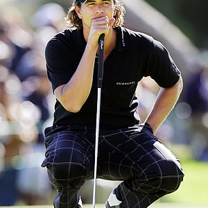 Adam Scott of Australia waits to hit his next shot on the 18th hole during the final round of the Nissan Open golf tournament, Sunday, Feb. 19, 2006, at Riviera Country Club in Los Angeles. Scott finished one stroke behind winner Rory Sabbatini.
