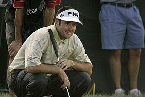Bubba Watson waits to putt on the 18th green during the second round of the 107th U.S. Open Golf Championship at the Oakmont Country Club in Oakmont, Pa., Friday, June 15, 2007.
