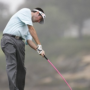 Bubba Watson drives the ball on the converted par four sixth hole while practicing for the US Open at Torrey Pines Golf Course Monday June 9, 2008 in San Diego. The USGA changed the sixth hole from a par five to a par four for the Open.