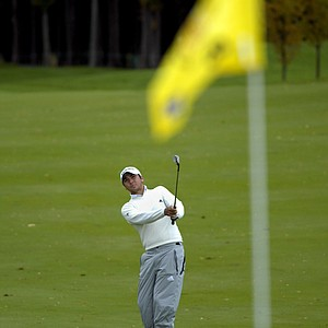 Jason Day, of Australia, hits his approach shot to the eighth green during the second round of the PGA golf Turning Stone Resort Championship in Verona, N.Y., Friday, Oct. 3, 2008.