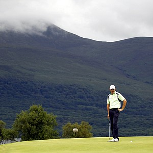 Ireland's Padraig Harrington reacts after missing a birdie putt on the 17th hole during the final round of the Irish Open Golf Championship at Killarney Golf and Fishing Club, Ireland, Sunday, Aug. 1, 2010.