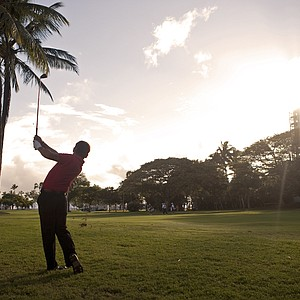 Shigeki Maruyama, of Japan, hits out of the rough on the 10th fairway during the third round of the Sony Open golf tournament, Sunday, Jan. 16, 2011, in Honolulu.