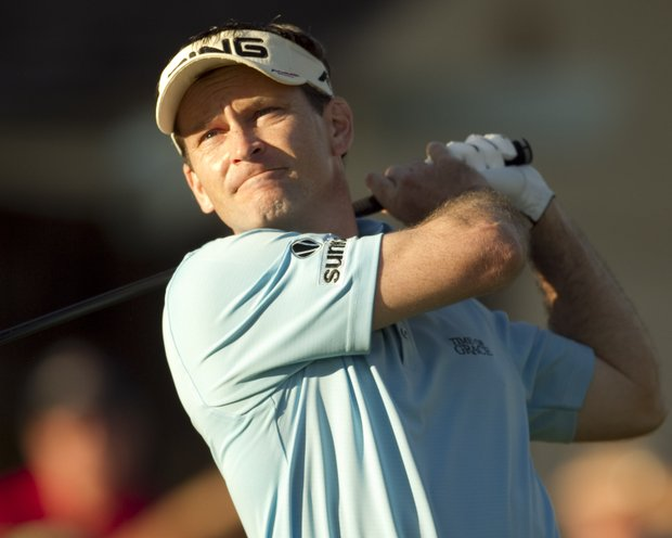 Mark Wilson follows his drive off the 10th tee during the third round of the Sony Open golf tournament Sunday, Jan. 16, 2011, in Honolulu.