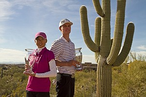 Paige Lee, left, and Michael Moorhead pose with their trophies after winning the Golfweek West Coast Junior Invitational at the Troon North Monument Course in Scottsdale, Ariz.