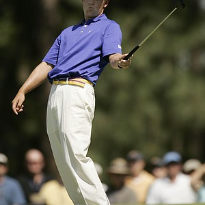Luke Donald reacts to missing a birdie putt on the 10th hole during second round play in the 105th US Open Championship at the Pinehurst Resort and Country Club's No. 2 course in Pinehurst, N.C. Friday, June 17, 2005.