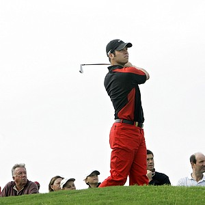 Paul Casey of England follows the ball after a shot on the 15th hole during the final day of the Volvo Masters golf tournament, the European Tour's final event, on the Valderrama golf course in Sotogrande, Spain, Sunday, Oct. 29, 2006. Casey, leader in the European Order of Merit, finished 4 over-par.