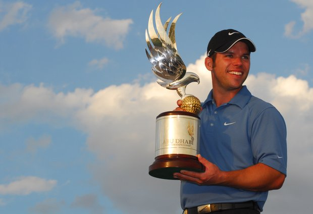 English golfer Paul Casey, the winner of the Abu Dhabi golf championship, poses with the trophy in Abu Dhabi, UAE, Sunday, Jan. 21, 2007.