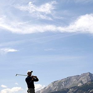 Charl Schwartzel from South Africa plays the ball during the 2nd round of the Omega European Masters Golf Tournament in Crans Montana, Switzerland, Friday, Sept. 5, 2008.