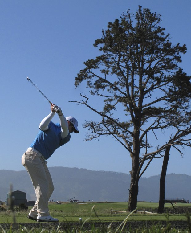 Paul Casey of England hits a drive on the fifth hole during a practice round for the U.S. Open golf tournament Wednesday, June 16, 2010, at the Pebble Beach Golf Links in Pebble Beach, Calif.