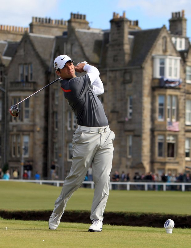England's Paul Casey hits off the second tee during the third round of the British Open Golf Championship on the Old Course at St. Andrews, Scotland, Saturday, July 17, 2010.