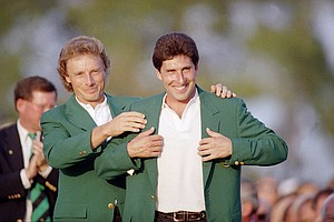 Bernhard Langer with Jose Maria Olazabal at the 1994 Masters.