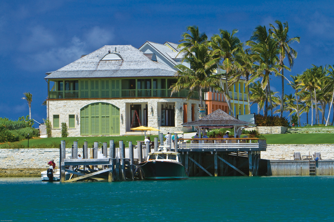 The boat landing, waterfront bar and resort.