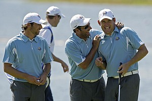 Jose Maria Olazabal (center) jokes with Sergio Garcia and Lee Westwood at the 2008 Ryder Cup.