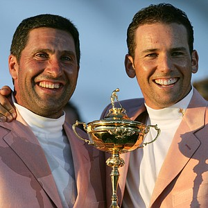 Jose Maria Olazabal with Sergio Garcia at the 2006 Ryder Cup.