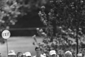 Arnold Palmer reacts to a missed putt on the first hole during the second round of the PGA Championship at the Atlanta Athletic Club in Duluth, Ga.