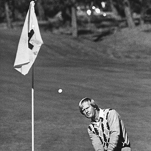Jack Nicklaus chips to the sxith green during a practice round for the Bing Crosby National Pro-Am at Cyprus Point, Jan. 30, 1980.