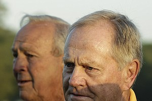 Jack Nicklaus, right, and Arnold Palmer stand together during the ceremonial first tee shots during the first round of the Masters, in Augusta, Ga., April 8, 2010. Nicklaus joined Palmer in 2010 as an honorary starter, Palmer has held the position for since 2007.
