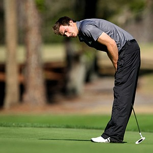 Charlie Simpson misses a putt at No. 13 during the Hooters Tour Winter Series event at Timacuan Golf Club.