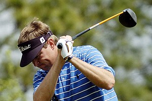 Davis Love III reacts after a poor tee shot on the ninth hole during the second round of the BellSouth Classic golf tournament in Duluth, Ga., in this March 31, 2006 file photo.