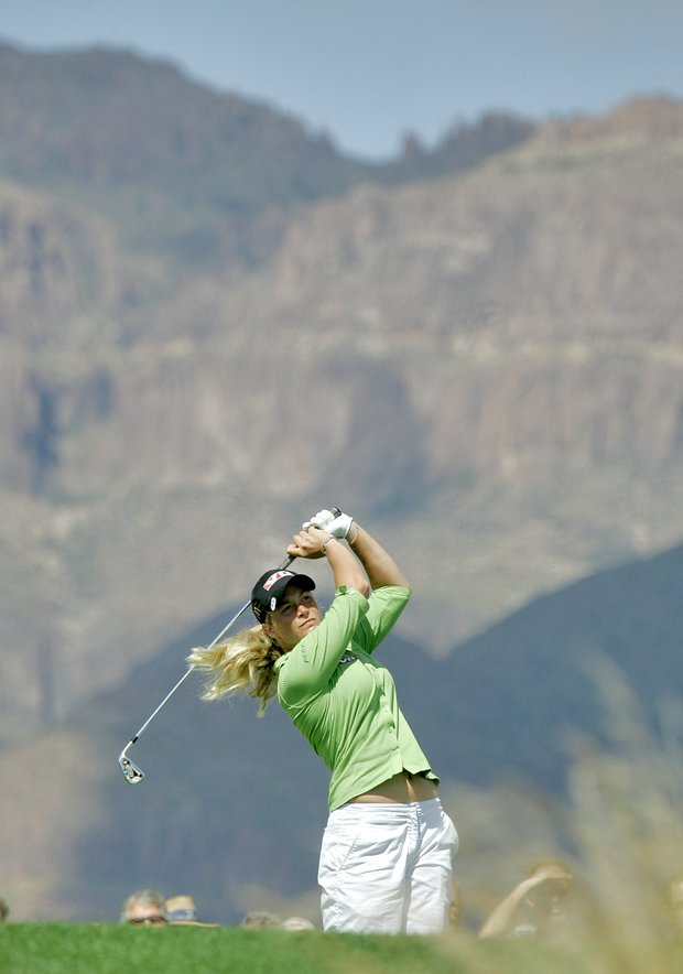 Suzann Pettersen, of Norway, hits from the eighth tee during the third round of the LPGA Safeway International golf tournament Saturday, March 24, 2007, in Superstition Mountain, Ariz.