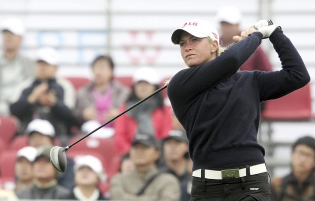 Suzann Petterson of Norway hits her tee shot at the first hole during the first round of the LPGA's Hana Bank Kolon Championship golf tournament at the Sky72 Golf Club in Incheon, west of Seoul, South Korea, Friday, Oct. 31, 2008.
